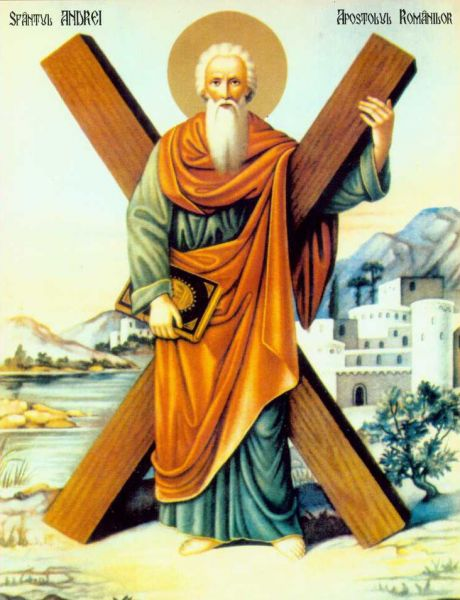 Sfântul, slăvitul și întru tot lăudatul Apostol Andrei, cel Întâi-chemat, era din Betsaida, Galileea, fiu al lui Iona și frate al lui Petru, cel dintâi dintre ucenicii lui Iisus Hristos. Este socotit ocrotitorul mai multor țări, între care România și Scoția. Prăznuirea lui principală se face la 30 noiembrie; mai este prăznuit și împreună cu ceilalți Apostoli la 30 iunie - in imagine, Apostolul Andrei (icoană românească) - foto: ro.orthodoxwiki.org