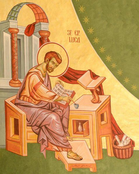 """Sfântul, slăvitul și întru-tot lăudatul Apostol și Evanghelist Luca este autorul Evangheliei după Luca, însoțitorul Sfântului Apostol Pavel (Filimon 1, 24; 2 Timotei 4, 10-11) și este numărat printre Cei Șaptezeci de Apostoli. El s-a născut în Antiohia siriană și era medic. El este considerat a fi fondatorul iconografiei. Emblema sa de evanghelist este un vițel, cel de-a treia figură simbolică menționată în Iezechiel (1, 10), care este un simbol al rangului sacrificial și preoțesc ale lui Hristos, așa cum sunt ele menționate de Sfântul Irineu. Prăznuirea sa se face la 18 octombrie, la 22 aprilie împreună cu Apostolii Nataniel și Climent, la 20 iunie ziua în care moaștele sale, alături de ale altor sfinți, au fost mutate în Biserica Sfinților Apostoli din Constantinopol, precum și la 4 ianuarie, împreună cu soborul Celor Șaptezeci - in imagine, Sfântul Apostol și Evanghelist Luca - frescă din Capela Seminarului Teologic Liceal Ortodox """"Sfântul Vasile cel Mare"""", din Iași - foto: doxologia.ro"""