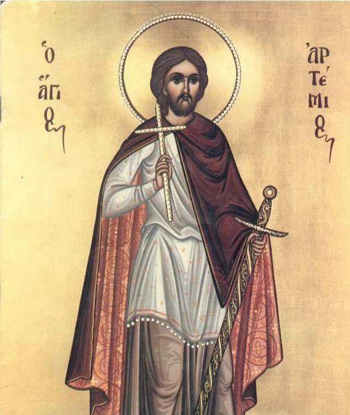 Sfântul Mare Mucenic Artemie. Prăznuirea sa de către Biserica Ortodoxă Romana se face la data de 20 octombrie - foto: doxologia.ro