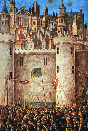 Asediul Antiohiei a avut loc în timpul primei cruciade, în perioada octombrie 1097 – iunie 1098. Cruciaţii au asediat oraşul apărat de musulmani din 21 octombrie 1097 până pe 2 iunie 1098. Musulmanii au asediat la rândul lor Antiohia apărată de creştini între 7 iunie 7 şi 28 iunie 1098 - in imagine, Asediul Antiohiei, Parte a Primei cruciade - miniatură medievală - foto: ro.wikipedia.org