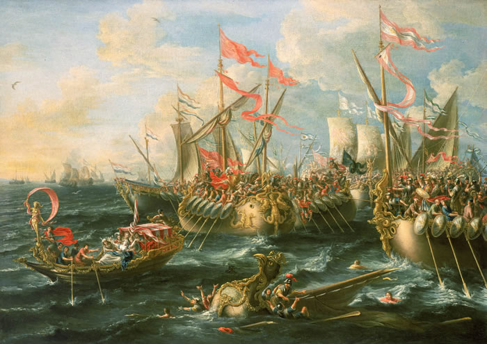 Bătălia de la Actium a reprezentat o bătălie decisivă între urmașii lui Iulius Caesar. Aceștia erau Gaius Iulius Caesar Octavian (nepotul lui Caesar) și un general al lui Caesar, Marcus Antonius. Bătălia a avut loc în apropierea insulei Levkas, la Actium în vestul Greciei pe data de 2 septembrie 31 î. Hr.. Această bătălie a marcat sfârșitul republicii romane și a începuturile Imperiului Roman. Această luptă este considerată una dintre cele mai mari bătălii navale ale antichității. Bătălia s-a încheiat cu victoria zdrobitoare a lui Octavian Augustus, care a profitat de victorie și a ajuns să controleze întreaga putere la Roma - in imagine, Bătălia de la Actium de Lorenzo A. Castro, 1672 - foto: ro.wikipedia.org