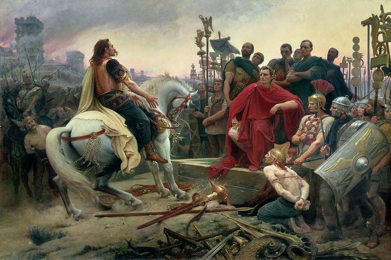 """Vercingetorix în faţa lui Iulius Cezar la """"Bătălia de la Alesia"""" - foto: ro.wikipedia.org"""