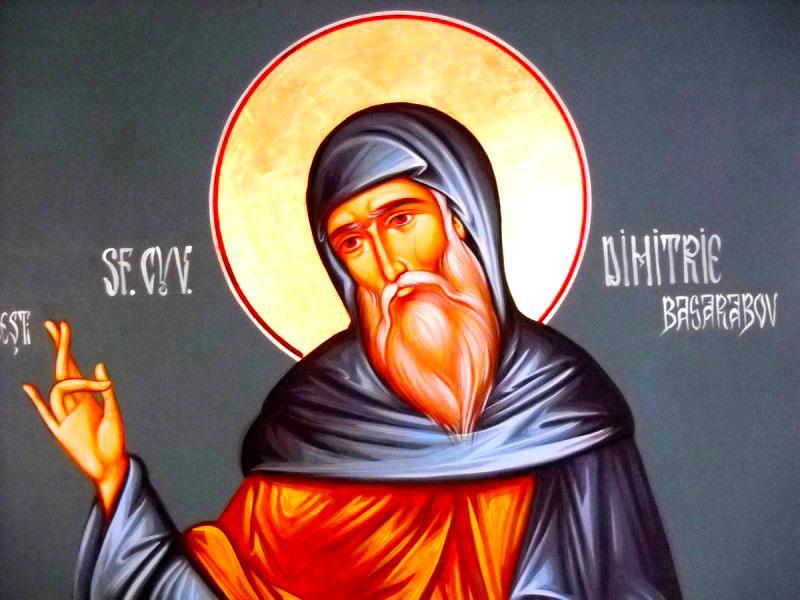 Sfântul Cuvios Dimitrie cel Nou din Basarabi (sau Dimitrie Basarabov) a trăit în secolul al XIII-lea, în vremea țaratului vlaho-bulgar. S-a născut în satul Basarabi (în Bulgaria de azi) și s-a nevoit într-o peșteră în apropiere. Moaștele sale se găsesc în Catedrala Patriarhală din București, drept pentru care, datorită evlaviei credincioșilor de aici, Sfântul a primit și numele de Ocrotitor al Bucureștilor. Prăznuirea sa se face pe 27 octombrie. Nu trebuie confundat cu Sfântul și Marele Mucenic Dimitrie Izvorâtorul de Mir - foto preluat de pe doxologia.ro