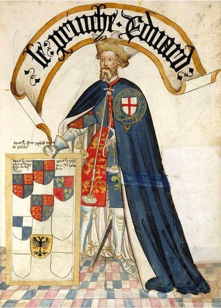 Eduard de Woodstock, Prinț de Wales, Duce de Cornwall, Prinț de Aquitania (15 iunie 1330 – 8 iunie 1376) a fost fiul cel mare al regelui Eduard al III-lea al Angliei și a soției acestuia, Philippa de Hainault, și tatăl regelui Richard al II-lea al Angliei - in imagine, Eduard, Prinț de Wales în uniformă de cavaler al Ordinului Jartierei, 1453 - foto: ro.wikipedia.org