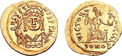 Flavius Iustinus Iunior Augustus, poreclit Divinul, (c. 520 - 578) a fost împărat bizantin între 565 și 578 - in imaqgine, Monedă de aur cu chipul lui Flavius Iustinus Iunior - foto: ro.wikipedia.org