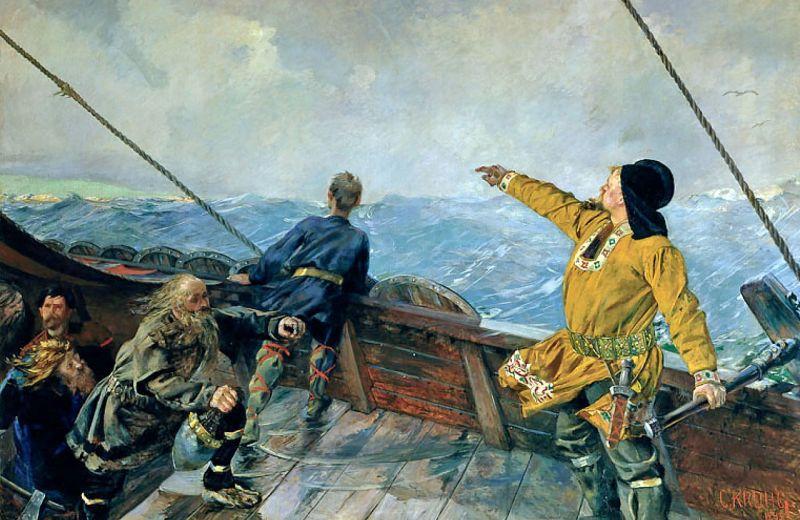 Leif Ericson (Limba nordică veche: Leifr Eiríksson) (c. 970 – c. 1020) a fost un explorator scandinav, considerat, în prezent, drept primul european care a debarcat în America de Nord (excluzând Groenlanda), cu 492 de ani înaintea lui Cristofor Columb. Conform Saga Islandezilor, a întemeiat o așezare în Vinland, ce a fost identificat cu situl viking de la L'Anse aux Meadows, din extremitatea nordică a insulei Newfoundland din Newfoundland și Labrador, Canada - in imagine, Leif Eriksson decoperǎ America (Christian Krogh, 1893) - foto: ro.wikipedia.org