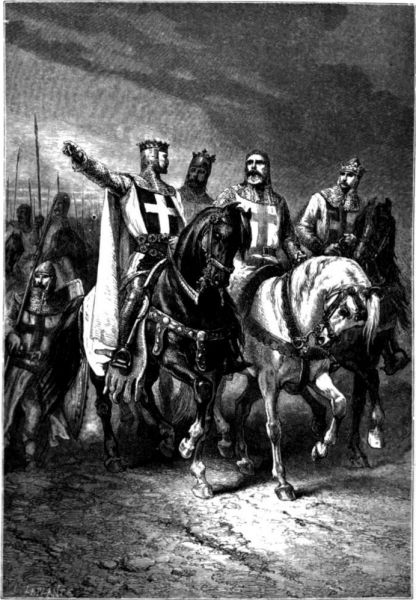 Cei patru lideri ai cruciadei: Godefroy de Bouillon, Boemund de Taranto, Raimond al IV-lea de Toulouse și Tancred de Taranto - foto: ro.wikipedia.org