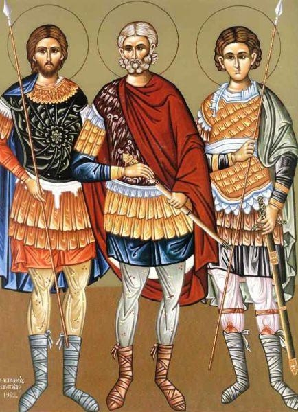 Sfinții Mucenici Prov, Andronic și Tarah. Prăznuirea lor de către Biserica Ortodoxă Romana se face la data de 12 octombrie - foto: doxologia.ro