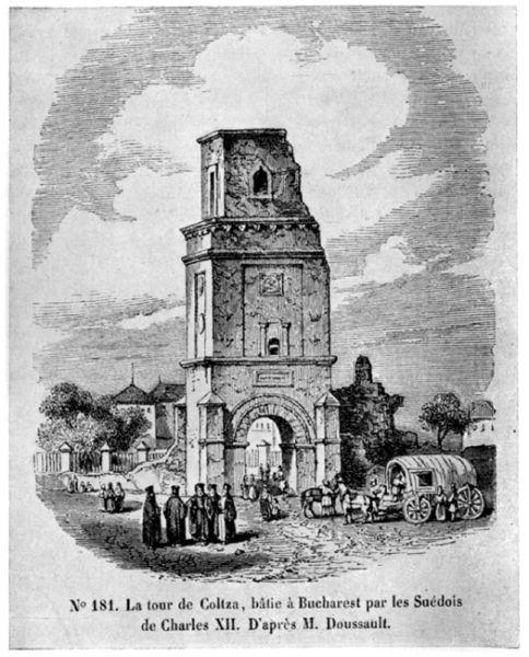 Turnul Colțea dupa cutremurul din 1802 - foto preluat de pe: ro.wikipedia.org