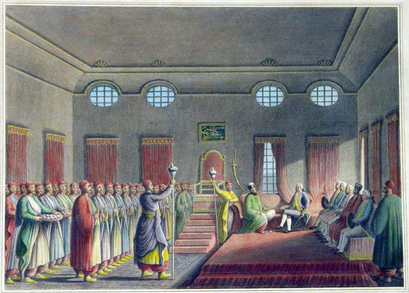 Alexandru Moruzi primindu-l pe ambasadorul britanic Robert Liston la Curtea Nouă - foto: ro.wikipedia.org