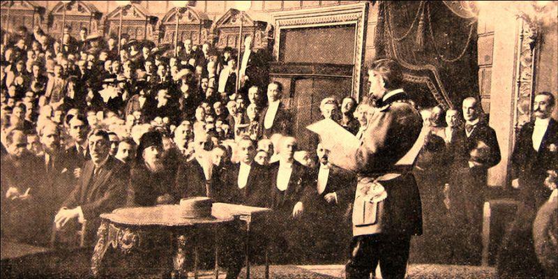 Regele Ferdinand vorbind în fața primului parlament al României întregite - foto preluat de pe agero-stuttgart.de
