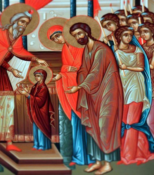 Intrarea Maicii Domnului în Biserică, numită și Aducerea Maicii Domnului la Templu (cunoscută în popor sub denumirea de Vovidenia), este unul din Praznicele Împărătești ale Bisericii Ortodoxe, sărbătorit la 21 noiembrie - foto preluat de pe basilica.ro