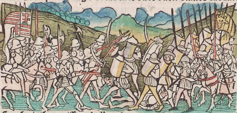 Bătălia de la Baia (în maghiară Moldvabányai csata, Bătălia de la Baia Moldovei) a avut loc în noapte de 14 spre 15 decembrie 1467 între oastea Moldovei, condusă de Ştefan cel Mare, şi oastea Regatului Ungariei, condusă de Matia Corvinul - in imagine, Kingdom of Hungary against Moldovans flag in battle - foto: ro.wikipedia.org