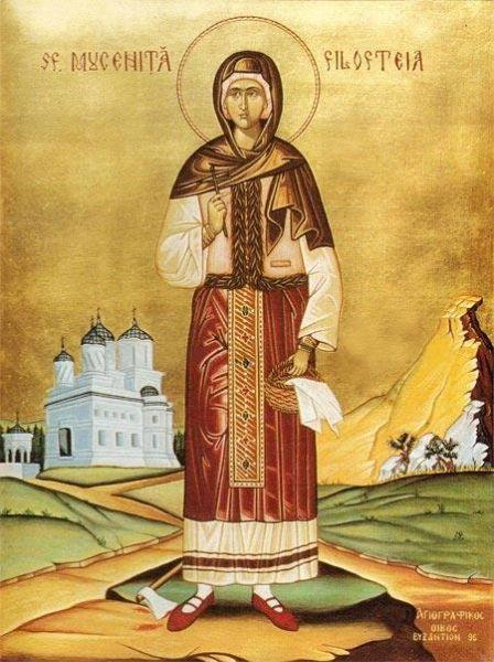 Sfânta Muceniță Filofteia este una din sfintele mucenițe cele mai cinstite de pe teritoriul României. Ea a trăit la începutul secolului al XIII-lea pe teritoriul Bulgariei de azi. Moaștele sale se găsesc în biserica mănăstirii din Curtea de Argeș, iar prăznuirea ei se face la 7 decembrie. Numele său mai poate fi întâlnit și cu grafia Filofteea sau (mai rar) Filoteea / Filoteia. Numele ei înseamnă iubitoare de Dumnezeu - foto: basilica.ro