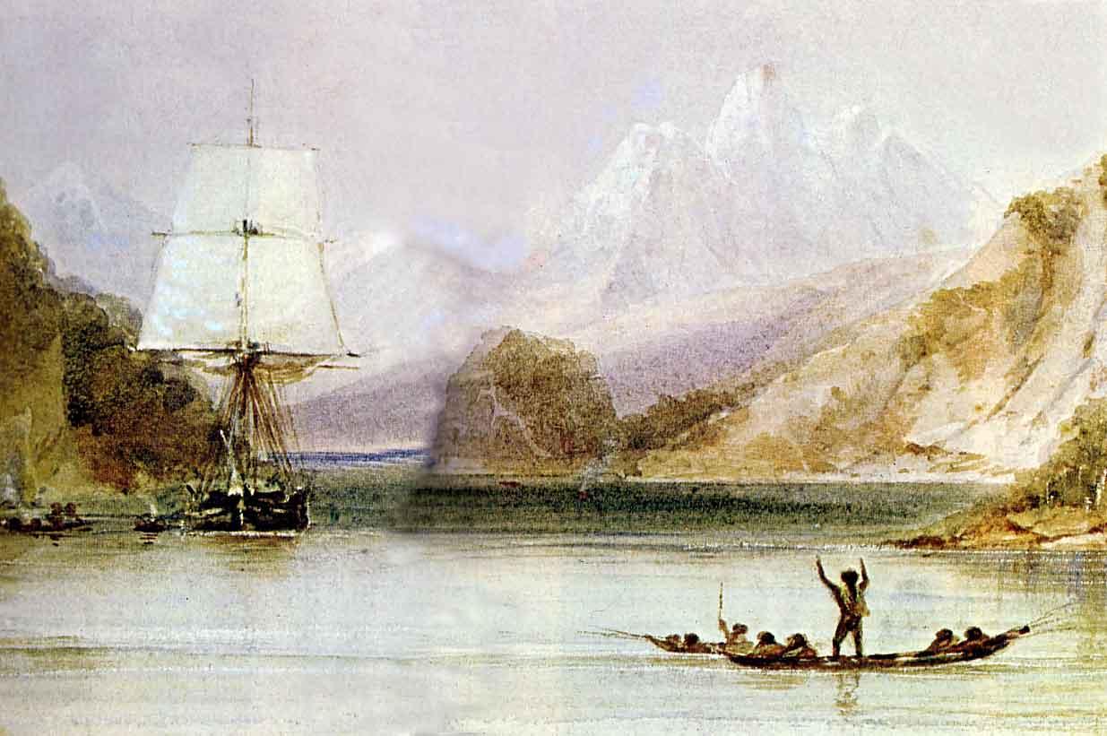 Acuarelă desenată de desenatorul tehnic de pe HMS Beagle, Conrad Martens. Pictată în timpul explorărilor din Ţara Focului, ea reprezintă pe băştinaşi salutând vasul Beagle - foto: ro.wikipedia.org