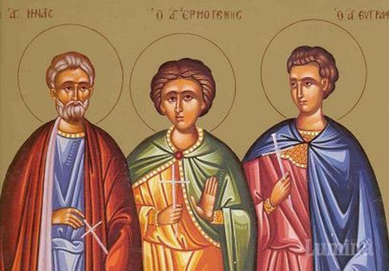 Sf. Mc. Mina, Ermoghen şi Evgraf (secolul al II/III-lea) - foto preluat de pe ziarullumina.ro
