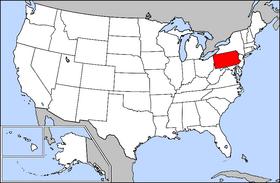 Harta Statelor Unite cu statul Pennsylvania indicat - foto preluat de pe ro.wikipedia.org
