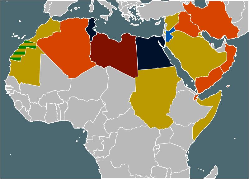 """""""Primăvara arabă"""" - Harta protestelor:      Negru - Guvern înlăturat;      Albastru - Schimbări în guvern;      Vișiniu - Rebeliune armată;      Portocaliu - Proteste majore;      Galben - Proteste minore;      Gri - Alte țări - foto preluat de pe ro.wikipedia.org"""