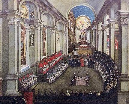 The Council of Trent meeting in Santa Maria Maggiore church, Trento (Trent). (Artist unknown; painted late 17th century.) - foto: en.wikipedia.org/wiki