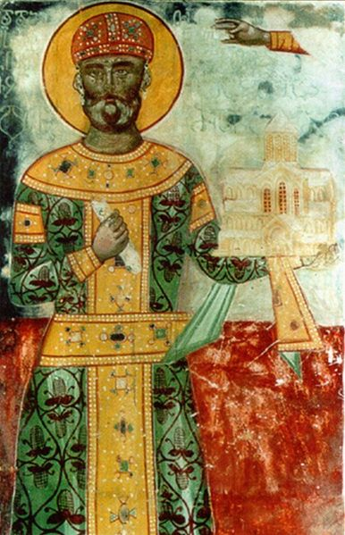David IV, also known as David the Builder (Georgian: Davit Aghmashenebeli) (1073 – 24 January 1125), of the Bagrationi dynasty, was a king of Georgia from 1089 until his death in 1125 - in imagine, A fresco of King David IV from Gelati Monastery - foto preluat de pe en.wikipedia.org