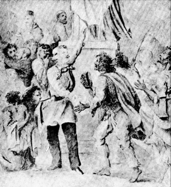 Creaţie alegorică a lui Theodor Aman (circa 1845) având ca subiect Dezrobirea ţiganilor - foto: ro.wikipedia.org