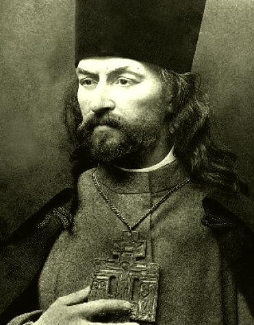 Gheorghi Apollonovici Gapon (n. 1870 – d. 10 aprilie 1906) a fost un preot ortodox rus și un cunoscut conducător al muncitorilor în anii de dinaintea Revoluției din 1905. Pe 22 ianuarie (stil nou)/9 ianuarie (stil vechi), la o zi după izbucnirea grevei generale în Sankt Petersburg, Gapon a organizat o procesiune pentru a prezenta o petiție țarului Nicolae al II-lea, procesiune care s-a încheiat tragic prin împușcarea și rănirea unui mare număr de demonstranți. Preotul a fost salvat de la moarte de adepții săi. El l-a afurisit pe țar și a chemat muncitorii să se ridice la luptă împotriva regimului, iar, la scurtă vreme după aceasta, a fugit din țară. În străinătate a început să aibă legături strânse cu eserii. După publicarea Proclamației din octombrie, Gapon s-a reîntors în Rusia și a reluat legăturile cu Ohrana. Fiind suspectat că ar fi fost agent provocator al poliției secrete, Gapon a fost condamnat la moarte de socialiștii revoluționari și a fost spânzurat într-o casă țărănească din Finlanda de către Pinhas Rutenberg - foto preluat de pe en.wikipedia.org