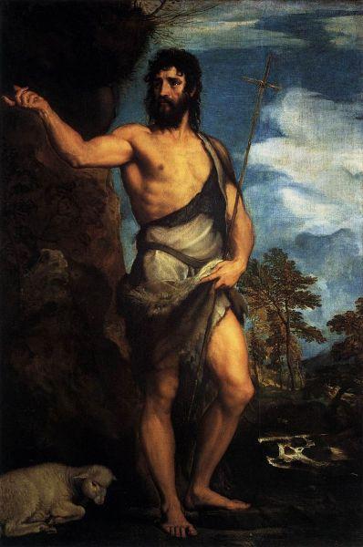 Ioan Botezătorul, pictură de Tiţian, circa 1452, Veneția - foto preluat de pe ro.wikipedia.org