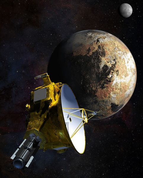 Artist's impression of New Horizons' close encounter with the Pluto–Charon system - foto: en.wikipedia.org
