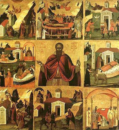 """Sfântul Teodosie cel Mare """"Chinoviarhul"""" - icoană rusească din secolul al XVII-lea cu scene din viața sfântului - foto preluat de pe ro.orthodoxwiki.org"""
