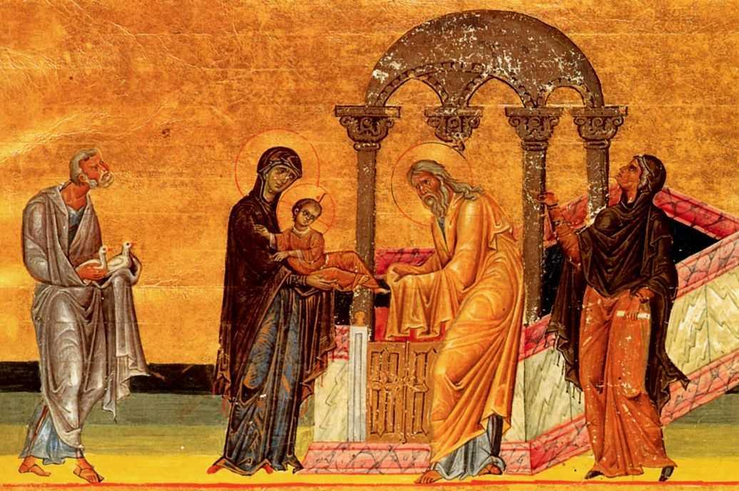 Întâmpinarea Domnului (Menologion-ul lui Vasile al II-lea, sec. X-XI) - foto preluat de pe ro.orthodoxwiki.org