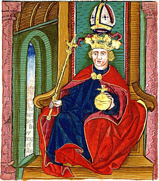 Hungarian king Coloman I 'the Book-lover' as depicted in Chronica Hungarorum authored by János Thuróczy (1488) - foto preluat de pe en.wikipedia.org