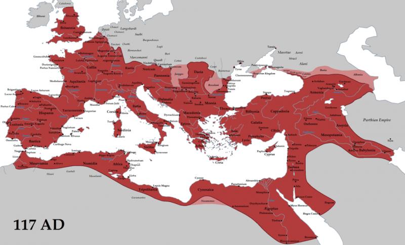 Imperiul Roman în timpul lui Traian (117) - foto: en.wikipedia.org
