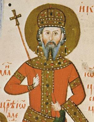 Portret al Ţarului Ioan Alexandru al Bulgariei în Tetraevanghelia lui Ioan Alexandr - foto preluat de pe ro.wikipedia.org
