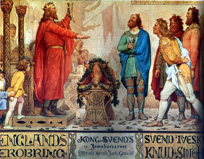 Sweyn and the Jomsvikings at the funeral ale of his father Harald Bluetooth. Painting by Lorenz Frølich, c. 1883–86, Frederiksborg Castle - foto preluat de pe en.wikipedia.org