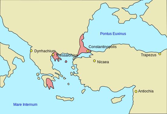 Asediul Salonicului (1422–1430) - Parte a Războaielor bizantino-otomane (Imperiul Bizantin în 1400) - foto preluat de pe ro.wikipedia.org