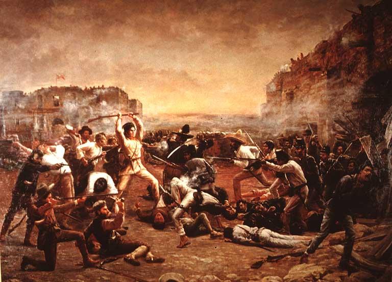 """""""Bătălia de la Alamo"""" (23 februarie – 6 martie 1836) - """"Căderea Alamoului"""" (1903) de Robert Jenkins Onderdonk, îl prezintă pe Davy Crockett folosindu-și flinta drept bâtă împotriva soldaților mexicani care trecuseră de zidul misiunii - foto preluat de pe ro.wikipedia.org"""