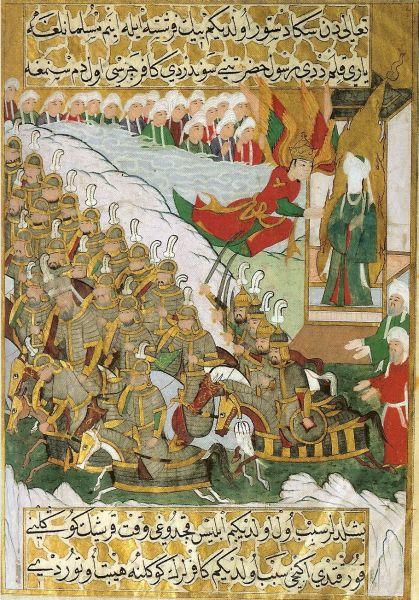 Bătălia de la Badr (17 Ramadan, anul 2 de la Hegira; 13 martie 624) - Parte din Războaielor dintre musulmani şi tribul quraish - Profetul Mahomed stând împreună cu îngerul Jibril  - foto preluat de pe ro.wikipedia.org