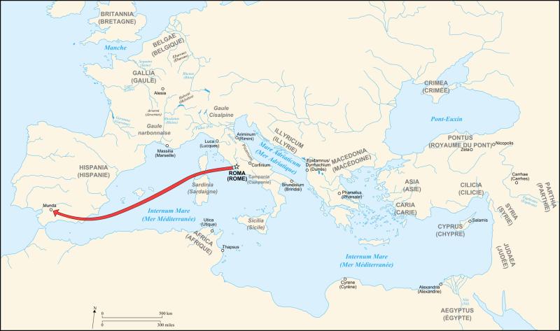 """""""Bătălia de la Munda"""" (17 martie 45 î.Hr) - Parte din Războiului Civil al lui Cezar - Campania lui Cezar până la Munda - foto preluat de pe ro.wikipedia.org"""