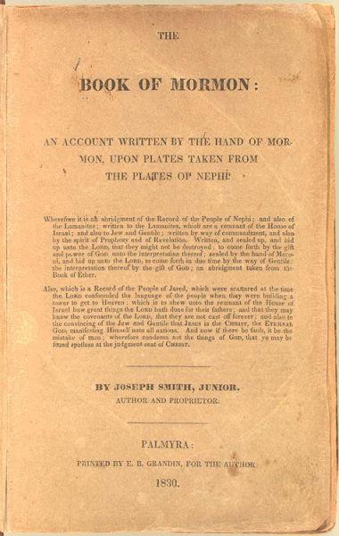 """""""Cartea lui Mormon"""" - Pagina de început a ediţiei originale din 1830 scrisă de Joseph Smith Jr. (Imagine din Biblioteca Congresului S.U.A.) - foto preluat de pe ro.wikipedia.org"""