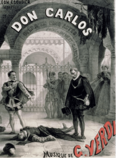 """Don Carlos"" Opera by Giuseppe Verdi - Poster from the 1867 Paris production which depicts the death of Rodrigo in the King's presence - foto preluat de pe en.wikipedia.org"