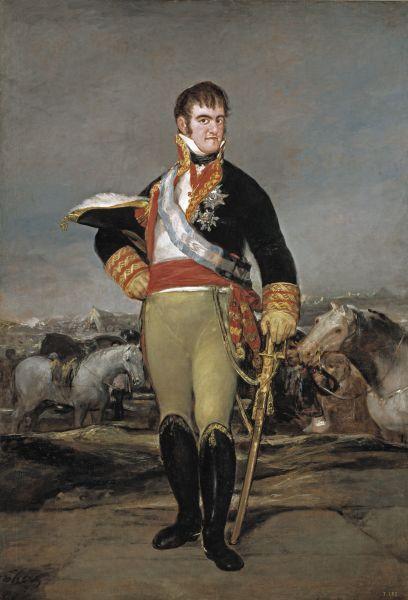 Ferdinand al VII-lea de Burbon (spaniolă : Fernando VII de Borbón; n. 14 octombrie 1784, San Lorenzo de El Escorial, - d. 29 septembrie 1833, Madrid), supranumit Cel Dorit, a fost rege al Spaniei în 1808. În urma expulzării regelui impus José I, a urcat din nou pe tron, domnind din 1813 până la moartea sa, mai puțin în 1823, când a fost obligat să abdice de Consiliul Regenței - in imagine, Ferdinand VII of Spain (1814) by Goya - foto: ro.wikipedia.org
