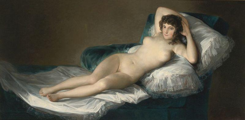 """""""La Maja Desnuda"""", Francisco de Goya (1799-1800) - Museo del Prado, Madrid - foto: ro.wikipedia.org"""
