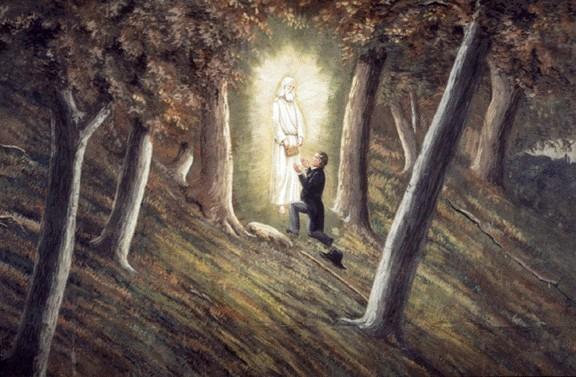 Momentul când Joseph Smith primeşte de la îngerul Moroni plăcile - foto preluat de pe ro.wikipedia.org