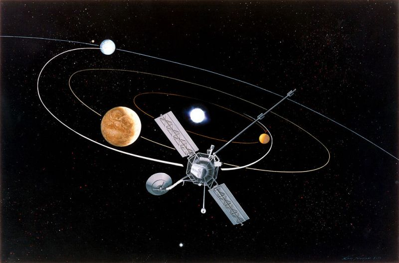 Artists' impression of the Mariner 10 mission. The first mission to perform a gravity assist, it used a flyby of the planet Venus in order to decrease its perihelion. This would allow the spacecraft to meet Mercury on three occasions in 1974 and 1975 - foto: en.wikipedia.org