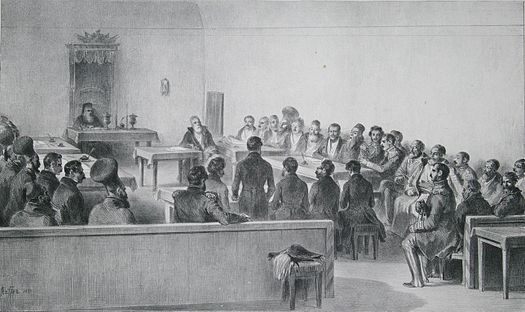 "Sfatul boieresc (""Obşteasca Adunare"") al Valahiei (Munteniei) în 1837 - foto: ro.wikipedia.org"
