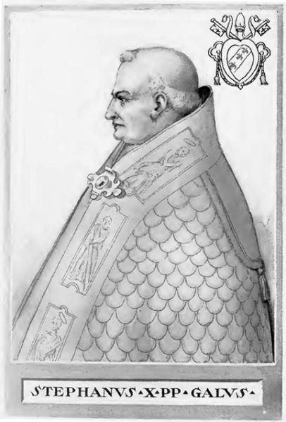 Papa Ștefan al IX-lea (în germană Stephan IX.), (n. c.1020 - d.1058) a fost cel de al șaselea papă german al Romei (1057-1058) (numele laic: Frederic de Lotharingia). Era fratele Ducelui de Lotharingia Inferioară Godefroy al III-lea - foto: en.wikipedia.org