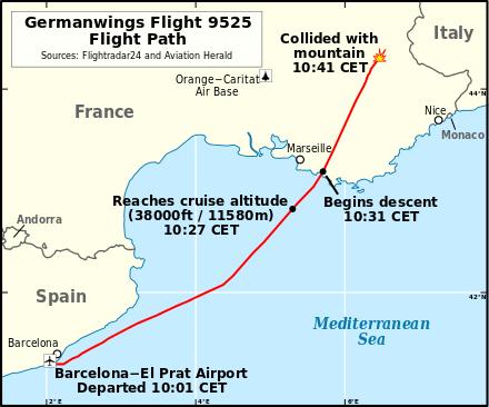 Germanwings Flight 9525 (Flight path) - foto preluat de pe en.wikipedia.org