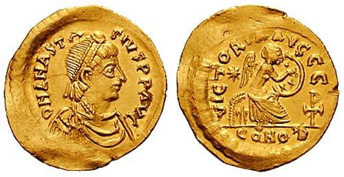 """Flavius Anastasius (c.430 la Dyrrhachium - 518) cunoscut sub numele de Anastasiu I (lat. """"Flavius Anastasius Dicorus Augustus""""), a fost împărat bizantin în perioada 491 - 518. El a fost ultimul membru al dinastiei Leonide - foto: ro.wikipedia.org"""