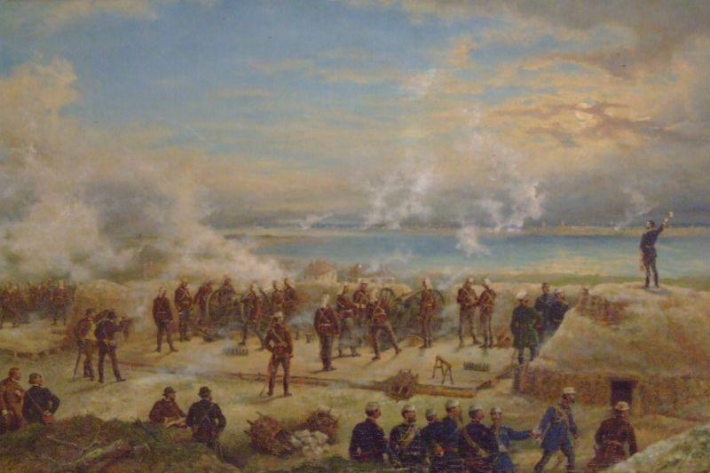 Primul foc de tun tras de Armata Romana in razboiul de independenta (1877) -  foto preluat de pe wikimedia.org