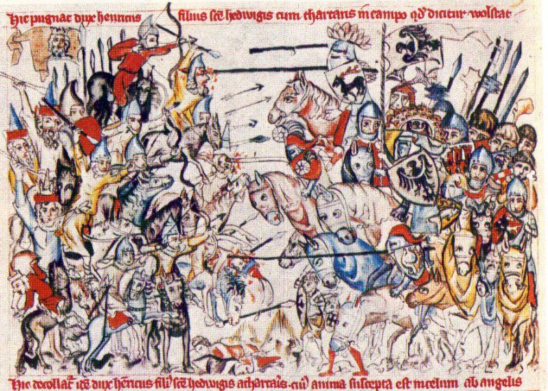 """""""Bătălia de la Liegnitz"""" -  Imagine din secolul al XV-lea a bãtãliei - foto: ro.wikipedia.org"""